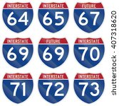 collection of interstate... | Shutterstock . vector #407318620