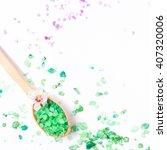 spa sea salt and flower branch... | Shutterstock . vector #407320006