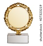 gold trophy with laurel wreath... | Shutterstock . vector #407323219