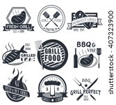 vector set of grill and bbq... | Shutterstock .eps vector #407323900