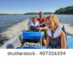 father and sons out boating... | Shutterstock . vector #407326354