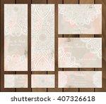 set of watercolor background... | Shutterstock .eps vector #407326618