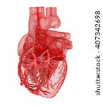 human heart. 3d illustration.... | Shutterstock . vector #407342698