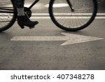 a new york city bike lane arrow ...