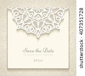elegant save the date card with ... | Shutterstock .eps vector #407351728