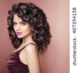 curly hairstyle. beautiful... | Shutterstock . vector #407354158