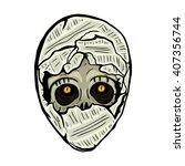 human skull. mummy. | Shutterstock .eps vector #407356744