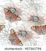 hand drawing butterfly and... | Shutterstock .eps vector #407361796