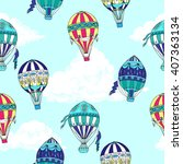 seamless pattern with clouds... | Shutterstock .eps vector #407363134