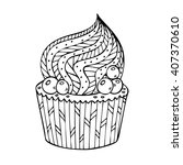 cupcake coloring for adults.... | Shutterstock .eps vector #407370610