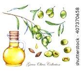 hand drawn watercolor organic... | Shutterstock . vector #407370658