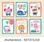 set of birthday card with cute... | Shutterstock .eps vector #407371210