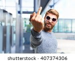 blond hipster man. happy... | Shutterstock . vector #407374306