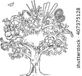 tree graphic illustration of... | Shutterstock .eps vector #407375128
