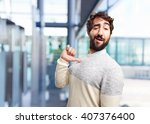 young crazy man happy expression | Shutterstock . vector #407376400