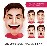 set man head emotions in 3d... | Shutterstock .eps vector #407378899