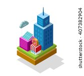 smart city isometric... | Shutterstock . vector #407382904