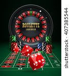 casino roulette  chips  red... | Shutterstock .eps vector #407385544