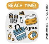beach accessories outdoor... | Shutterstock .eps vector #407385580