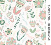 seamless floral pattern. vector ... | Shutterstock .eps vector #407392648