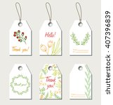 set of floral gift tags. thank... | Shutterstock . vector #407396839