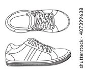 hand drawn sneakers  gym shoes. ...