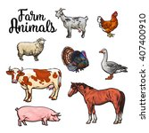 Set Of Farm Animals In All...