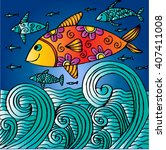 hand drawn fishes  in the waves | Shutterstock .eps vector #407411008