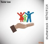 family life insurance sign icon.... | Shutterstock .eps vector #407419114