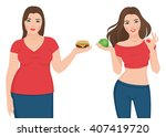 fat and slim woman before and... | Shutterstock .eps vector #407419720