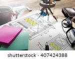 web design online technology... | Shutterstock . vector #407424388