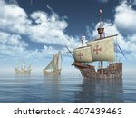 santa maria  nina and pinta of... | Shutterstock . vector #407439463