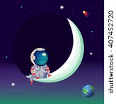 illustration with an astronaut... | Shutterstock .eps vector #407452720
