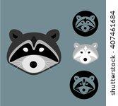 4 Racoon  Logo Elements  Set
