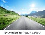 road and fog  lofoten island ... | Shutterstock . vector #407463490