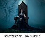 Small photo of dark evil queen sitting on a luxurious throne,dark boho,snow white, wild Princess , vampire , hip toning , creative color,dark boho