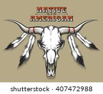 bull skull with feathers drawn...