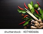 spices with ingredients on dark ... | Shutterstock . vector #407480686