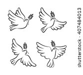 flying dove vector sketch set.... | Shutterstock .eps vector #407484013