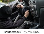 man dressed in black with a... | Shutterstock . vector #407487523