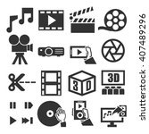 movie  video  icon set | Shutterstock .eps vector #407489296