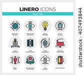 line icons set of future smart... | Shutterstock .eps vector #407493844
