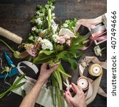 the florist desktop with... | Shutterstock . vector #407494666