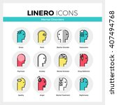 line icons set of human mental... | Shutterstock .eps vector #407494768