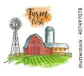 Farm Windmill  Barn  Fence ...