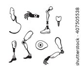 prosthetic limbs flat icons.... | Shutterstock .eps vector #407505538