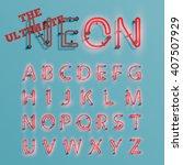 realistic neon character...   Shutterstock .eps vector #407507929