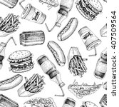 hand drawn fast food pattern.... | Shutterstock .eps vector #407509564
