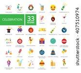 celebration icon set. vector... | Shutterstock .eps vector #407510974