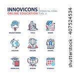 online education icons set.... | Shutterstock .eps vector #407524534